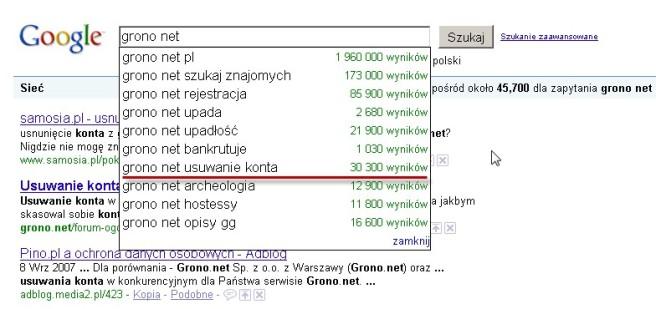 """Fraza """"grono.net usuwanie konta"""" w wyszukiwarce Google"""